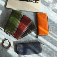 YIFANGZHE Vintage Men Long Wallet, High Quality Genuine Leather with Laser Engraving Fashion Purse , Zipper Closure