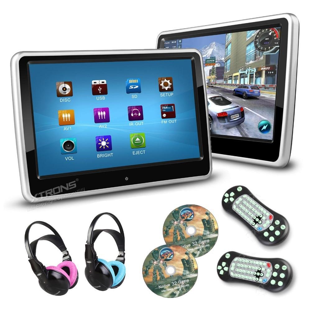 XTRONS 2pcs/ lot 10.1 Inch Digital TFT Touch Screen Monitor Ultra-thin Design Car Headrest DVD Player 1024*600 2 IR Headphones