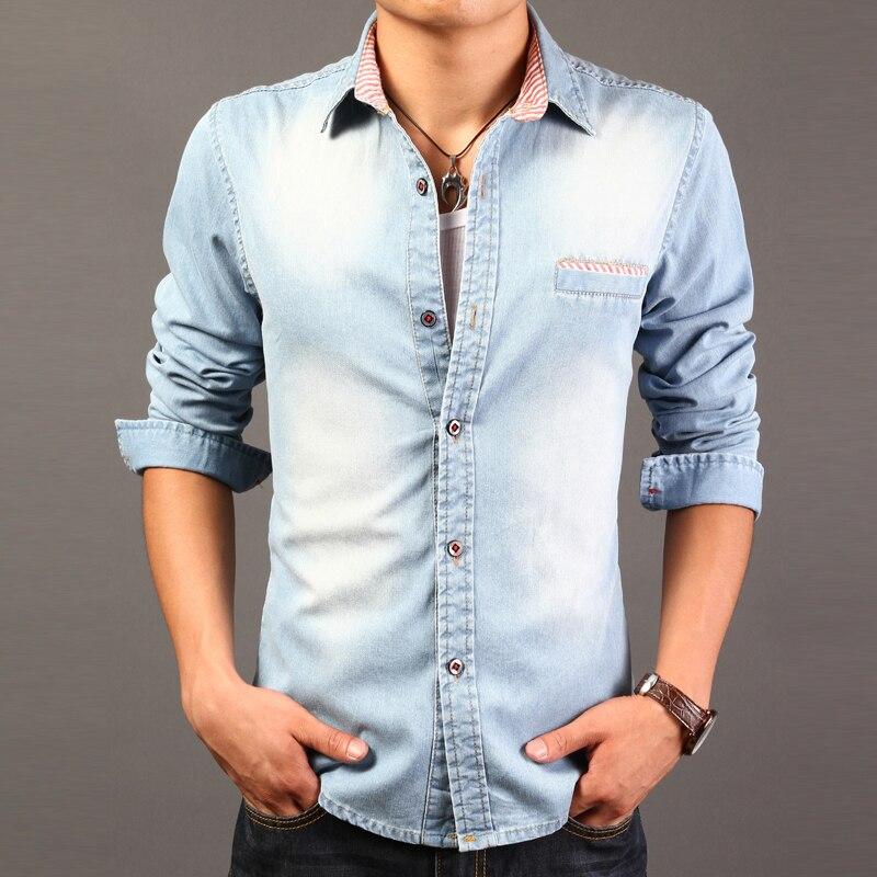 2017 high quality long sleeve denim shirts men casual for High quality mens shirts