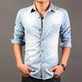 2017 de Alta Calidad de Manga Larga Camisas de Mezclilla de Los Hombres Camisa Casual de Moda delgado Mens Jeans Camisas Tallas grandes 3XL EE. UU. Estilo Euopean 50off