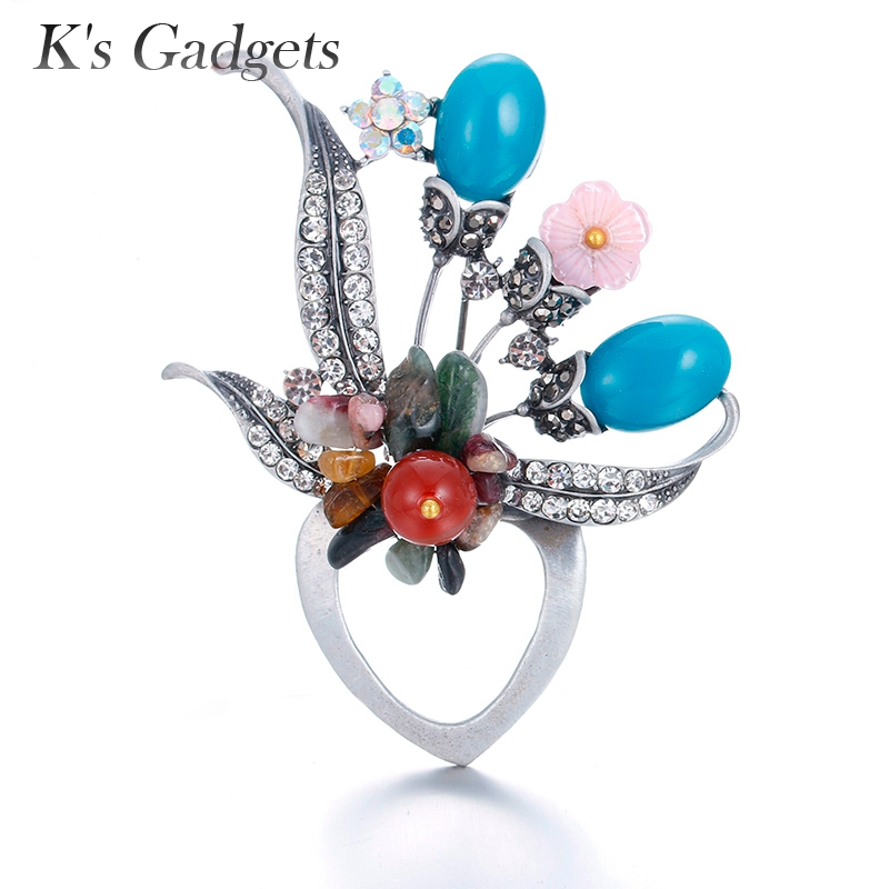 Ks Gadgets Fashion Bouquet Safety Pin Brooch Silver Crystal Rhinestone Broche Blue/Red/Green/Yellow Natural Stone Pins Brooches