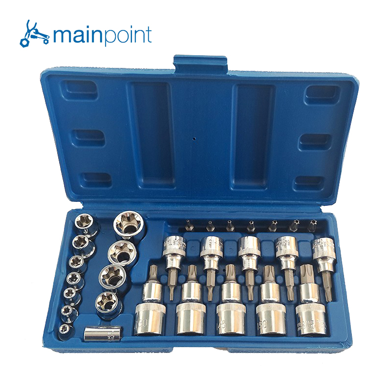 Mainpoint 2017 Hot Sale 29Pc Security Star Torx Sockets Bits Set Tamper Proof Ratchet Screwdriver Bit