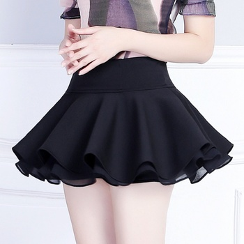 Women Ruffle Pleated Short Skirt Chiffon Stretchy Waist A-line Skater Mini skirt 2018 2020 new mosaic chiffon pleated skirt contrasting color academic pleated skirt short skirt goth fashion a line above knee