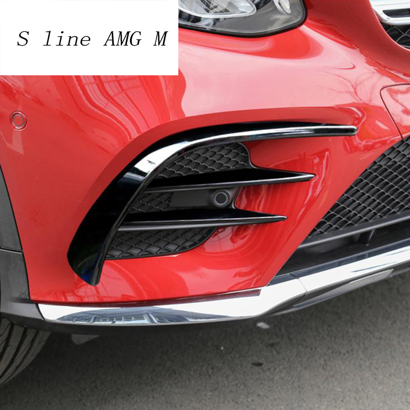 Car styling for Mercedes Benz GLC Class X253 head fog lamp grille slats auto lights covers Stickers decoration Trim Accessories 2pcs led fog lamp for benz w204 c class 11 13 car lights auto replacement daytime running lights fog lamp for mercedes for benz