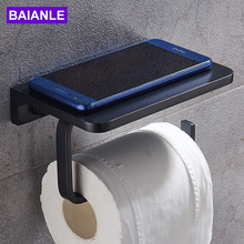 купить Bathroom Roll Paper Holder Black Aluminum Paper Towel Holders Wall Mounted Shelf Toilet Paper Roll Holder WC Tissue Paper Holder по цене 1702.75 рублей