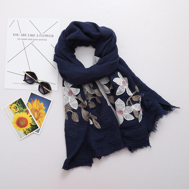 90*180 long big size embroidered scarf floral viscose shawl ethnic japanese Bandana hija ...