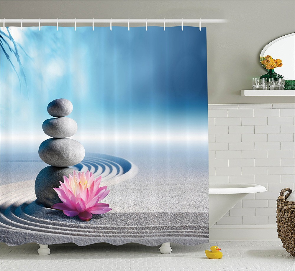 Shower curtain spa decor stones and lotus flower over sand printing shower curtain spa decor stones and lotus flower over sand printing waterproof mildewproof polyester fabric bath curtain set in shower curtains from home izmirmasajfo