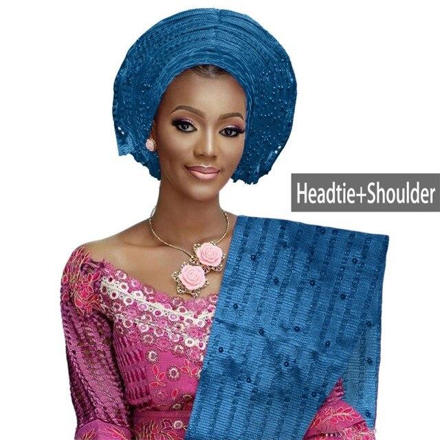 טוב באיכות oke gele headtie חרוזים כיסוי ראש ניגרית אפריקאיות חתונה מסיבת אוטומטי gele