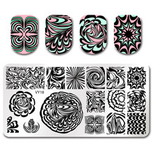 Pandox Rectangle Nail Stamping Plates Flowers Image 3D DIY Pattern Plate Template