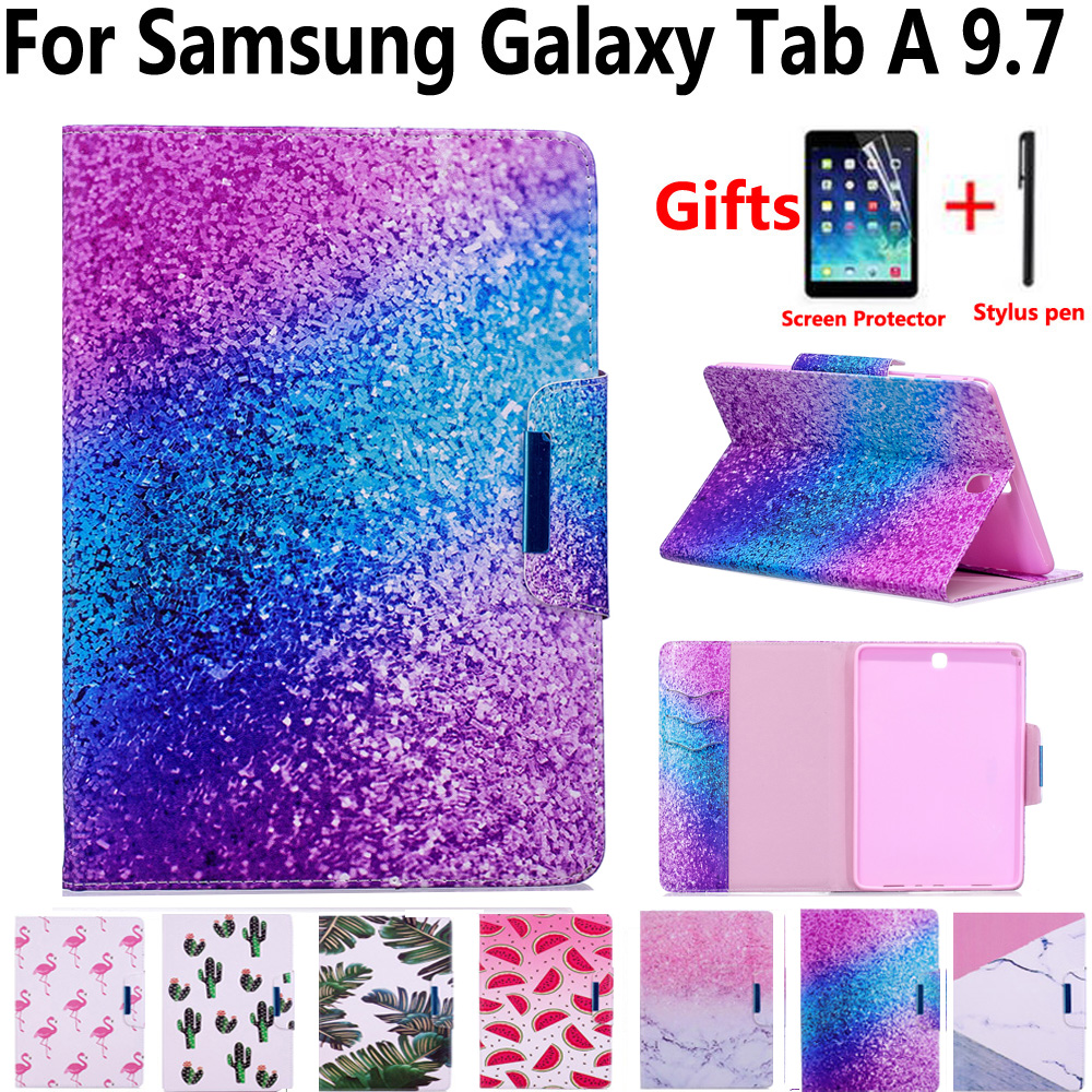 Marbre Peint Aimant Pu Housse En Cuir pour Samsung Galaxy Tab A 9.7 SM-T550 T550 T555 P550 avec Protecteur D'écran film Stylo