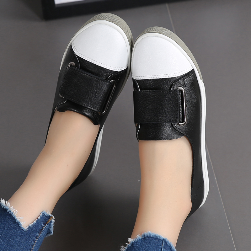 Bout Mujer white Chaussures Black Profonde Cuir Printemps Femmes En De Appartements Peu Qualité Ae428 Rond Haute Zapatos 1OqwxTz