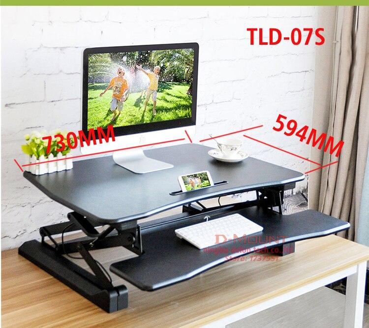 TLD7S EasyUp hauteur réglable assis support bureau Riser bureau d'ordinateur portable pliable Notebook/moniteur support avec plateau de clavier noir