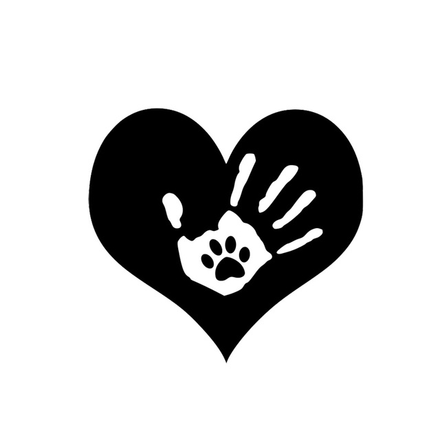 155cm146cm Dog Paw Print Heart Hand Love Fashion Car Sticker