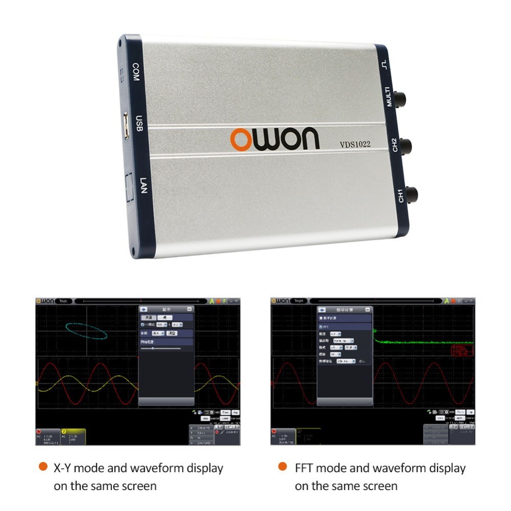OWON VDS1022/VDS1022I Digital Oscilloscope with 25MHz Bandwidth and 100MSa/s Sample Rate