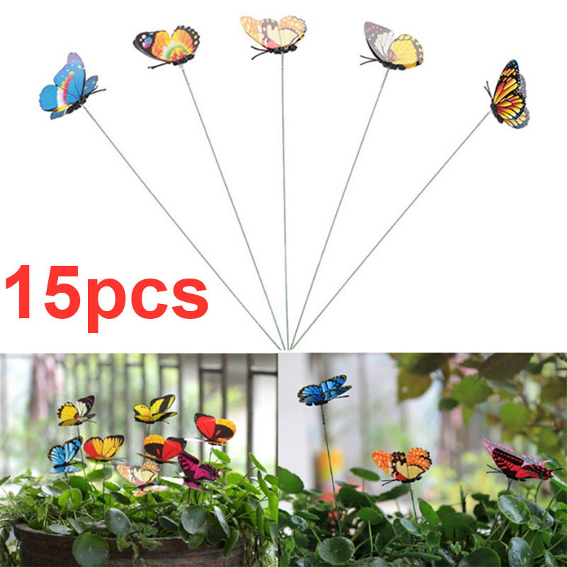 15PCS/Lot Colorful Artificial Butterfly Sticks Simulation Butterfly Stakes Yard Lawn Flowerpot Plant Decoration DIY Lawn Craft