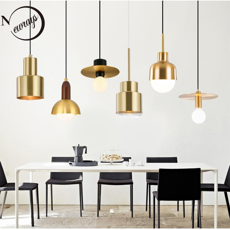Nordic simple brass single head E27 led hanging lamps for living room bedroom bedside bathroom study aisle restaurant hotel roomNordic simple brass single head E27 led hanging lamps for living room bedroom bedside bathroom study aisle restaurant hotel room