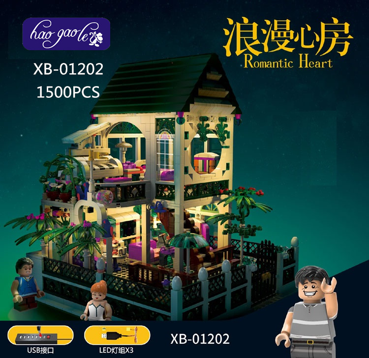 XB-01202 1500Pcs Building Block Bricks the Romantic Heart Set with Light USB Educational BABY Toys as Valentine