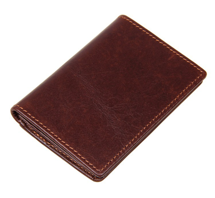 8078C 100% Real Cow Leather Short Credit Card Holder Women's Slim Bifold Purse JMD Men's ID Card Holder