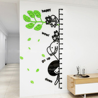 Cartoon Acrylic Height Measure Stickers 3D Elephant Wall Sticker for Kids Room Kindergarten Living Pool Wall Decoration