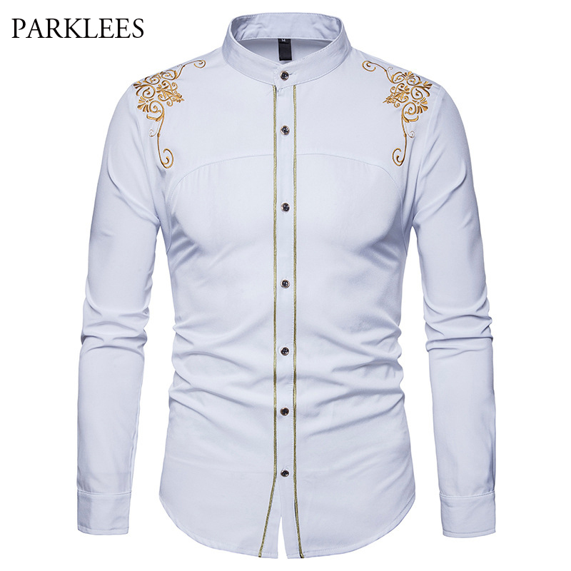 fb213d854c6 ... цветок вышивка рубашка Для мужчин 2018 Фирменная Новинка с длинным  рукавом мужская одежда рубашки Повседневное Slim Fit Button Down Chemise  Homme на ...