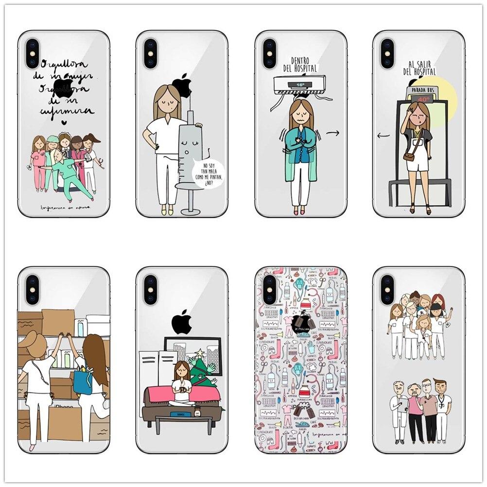 Half-wrapped Case Spain Cute Cartoon Medicine Nurse Doctor Dentist Black Soft Silicone Tpu For Iphonese 5s 6 6s 6plus 7 7plus X 8 8plus Phone Case
