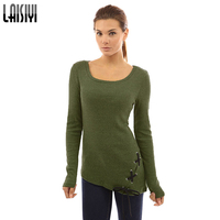 LAISIYI Women Casual Tees Tops Lace Up Irregular T Shirt Long Sleeve Slim T Shirt O