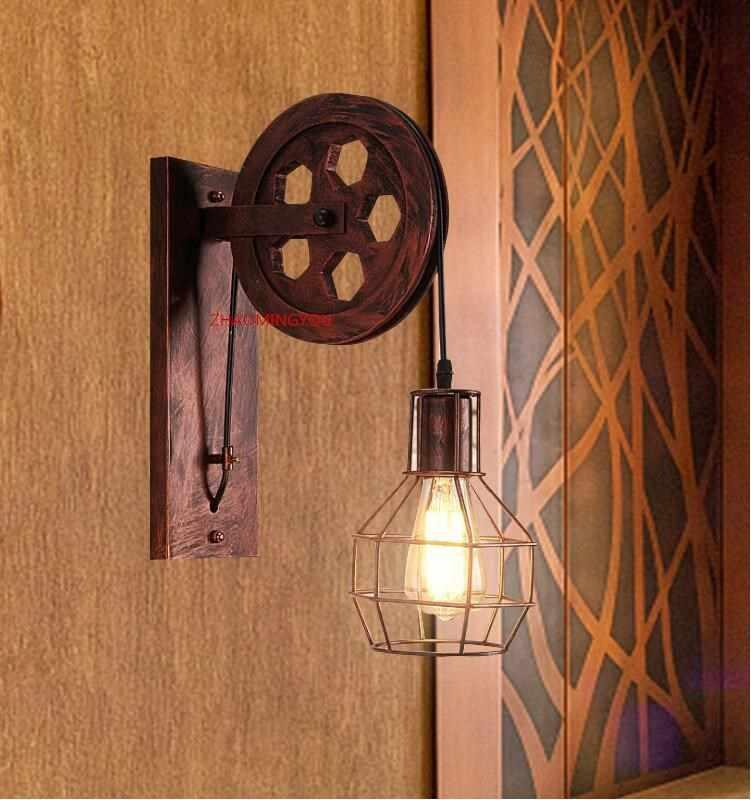 Loft retro lanternas luminárias polia lâmpada de parede