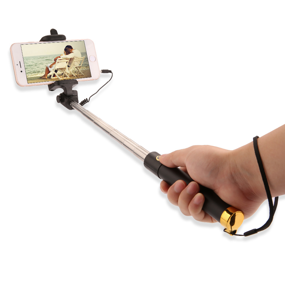 universal mini selfie stick monopod for iphone samsung android ios wired palo. Black Bedroom Furniture Sets. Home Design Ideas