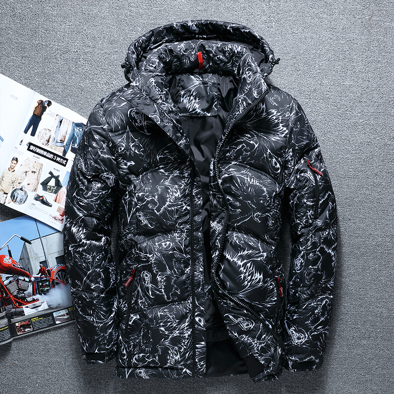 Fashion brand 2018 winter thick white duck down men's casual down jacket coat fashion camouflage hooded down jacket white black-in Down Jackets from Men's Clothing    1
