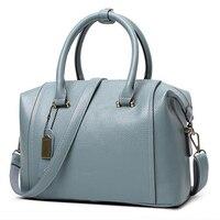 Blue PU Genuin Leather Women's Bag 2018 New European Boston Handbag Women Messenger Bag Women Tote bolsa bolsos mujer Red FR086