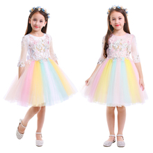 Fashion Girls Rainbow Dress Flower Beading Unicorn Dress Tulle Ball Gown Princess Dress Pageant Birthday Party Kids Girls Dress недорого