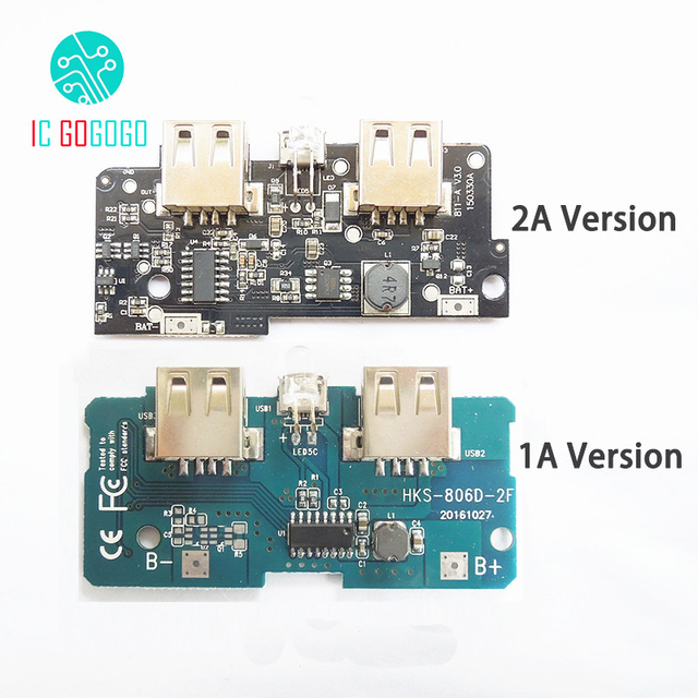 5V 1A 2A Power Bank Charger Module Step Up Boost Power Supply Charging PCB Circuit Board DIY Dual USB Output LED Powerbank
