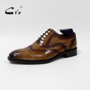 Image 2 - cie Square Toe Brogue Oxford 100%Genuine Calf Leather Breathable Bespoke Leather Shoe Custom Leather Men Flat  Handmade OX 02 16