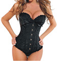 Sexy Lingerie Black Satin Embroidered Steel Bustiers Corset Overbust Corsets+Thong PLUS SIZE: S M L XL XXL 3XL 4XL 5XL 6XL
