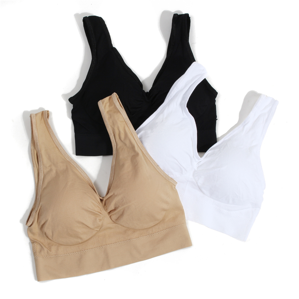 New Arrival 3pcs set Sports Bra with Removable Pads Seamless Sleeping Bra Push Up Bras Plus