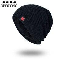 5 Sombrero de Color Tendencia de La Moda de Punto Sombrero de Invierno Gruesa Caliente Roja de Cinco estrellas Con Capucha Hombres Mujeres Al Aire Libre Sombrero Cómodo Tapa ajustable