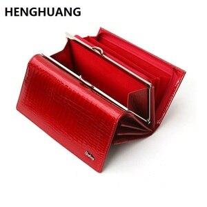 Image 1 - Echtes leder brieftasche frauen alligator lange kupplung handtasche kuh leder weibliche brieftaschen berühmte designer frauen geldbörsen