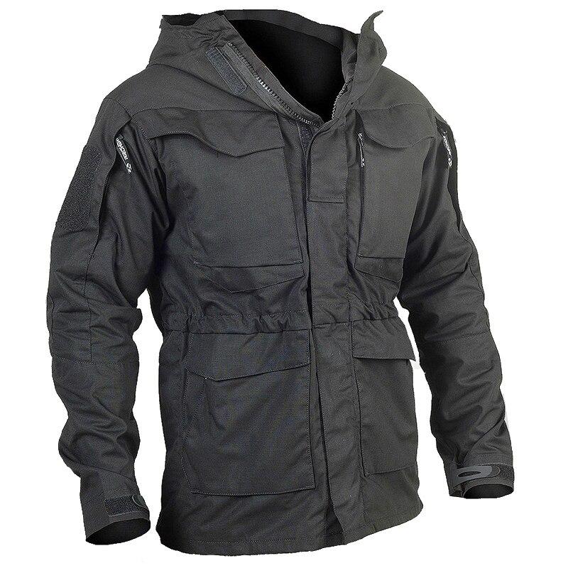 Nouveau extérieur M65 coupe-vent respirant militaire ventilateur hommes coupe-vent Camouflage tactique champ veste mâle à capuche poche armée manteau