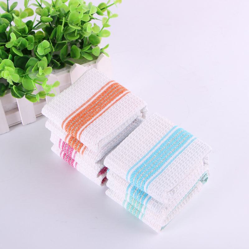 Limited Sale Stocked Scouring Pad Eco-friendly Premium Quality Qf119 Colourful Stripes 35cm *  35cm 100% Cotton Kitchen Cloth