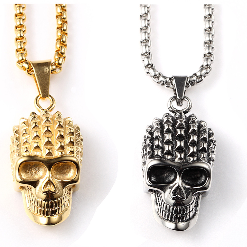 Skull skeleton pendant necklace goldsilver plated hip hop pendant skull skeleton pendant necklace goldsilver plated hip hop pendant tibet skull necklace stainless steel biker chain necklace in pendant necklaces from aloadofball Gallery