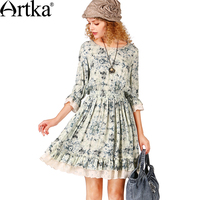Artka Women S Summer Vintage Floral Printed Dress O Neck Three Quarter Sleeve Cinched Waist Dress