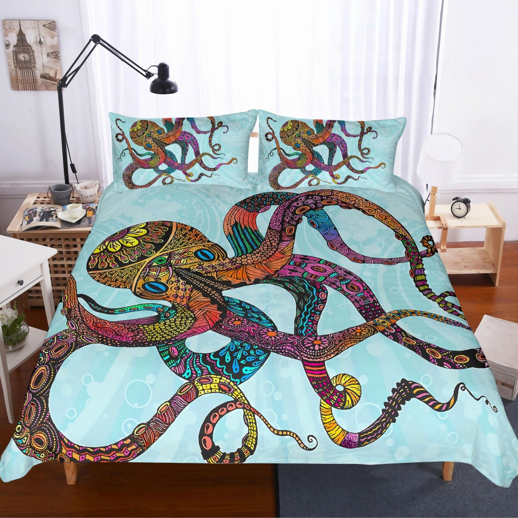 Octopus Bedding Set Blue Tentacles Hand Duvet Cover QH74 Gothic Bedclothes Vintage Home Textiles 3 pcsTwin Full Queen King SizeOctopus Bedding Set Blue Tentacles Hand Duvet Cover QH74 Gothic Bedclothes Vintage Home Textiles 3 pcsTwin Full Queen King Size