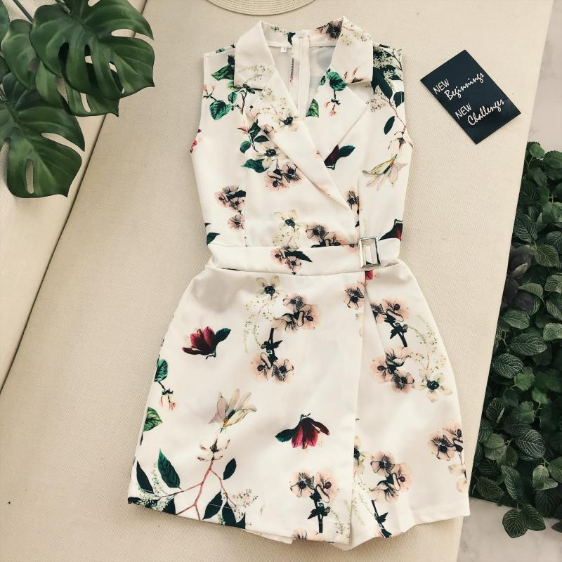 Amolapha Women Vintage Flora Printed Turn Down Collar Playsuits Buckle Sashes Waist