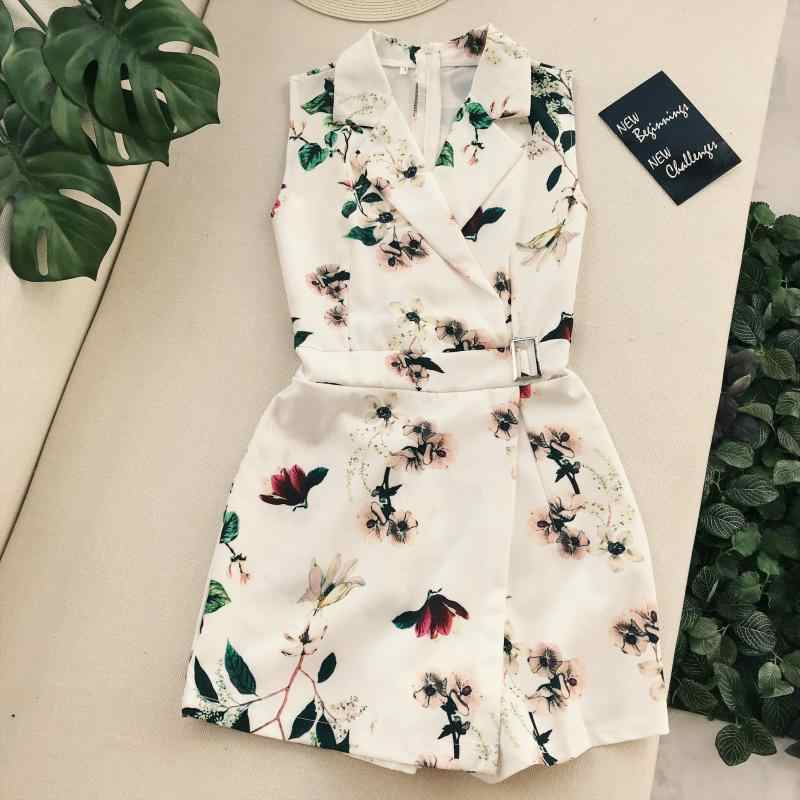 Amolapha Women Vintage Flora Printed Turn Down Collar Playsuits Buckle Sashes Waist Short Jumpsuit