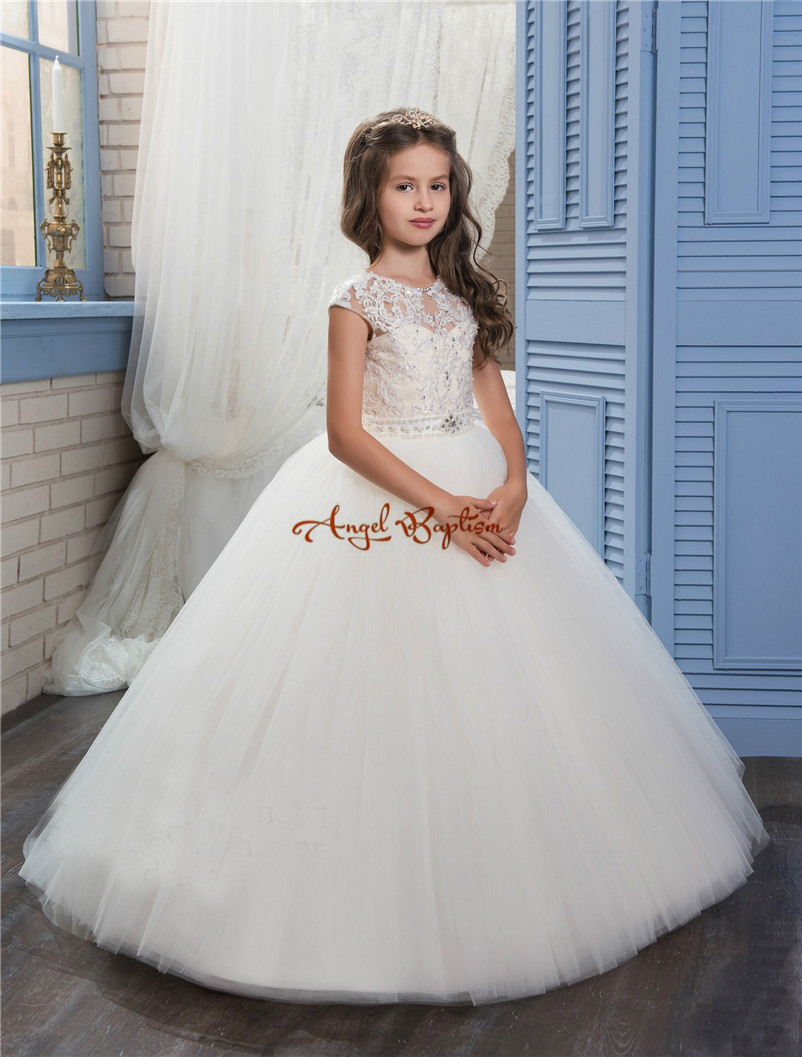 2018 Pretty Princess white ball gown Flower Girls' Dresses Sheer Crew Neck appliques bead Formal Girl's Pageant Dress with train 2018 new princess mint and white flower girls dresses sheer crew neck appliques bead formal girl s pageant dresses with train