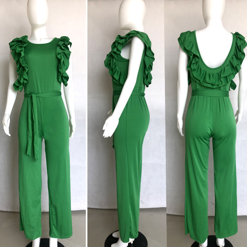 86c5d104fc0 Wide Leg Jumpsuit Women Summer Ruffle Sleeve Open Back Loose Jumpsuits  Overalls Party Long Pants Romper Womens Jumpsuit Sashes-in Jumpsuits from  Women s ...