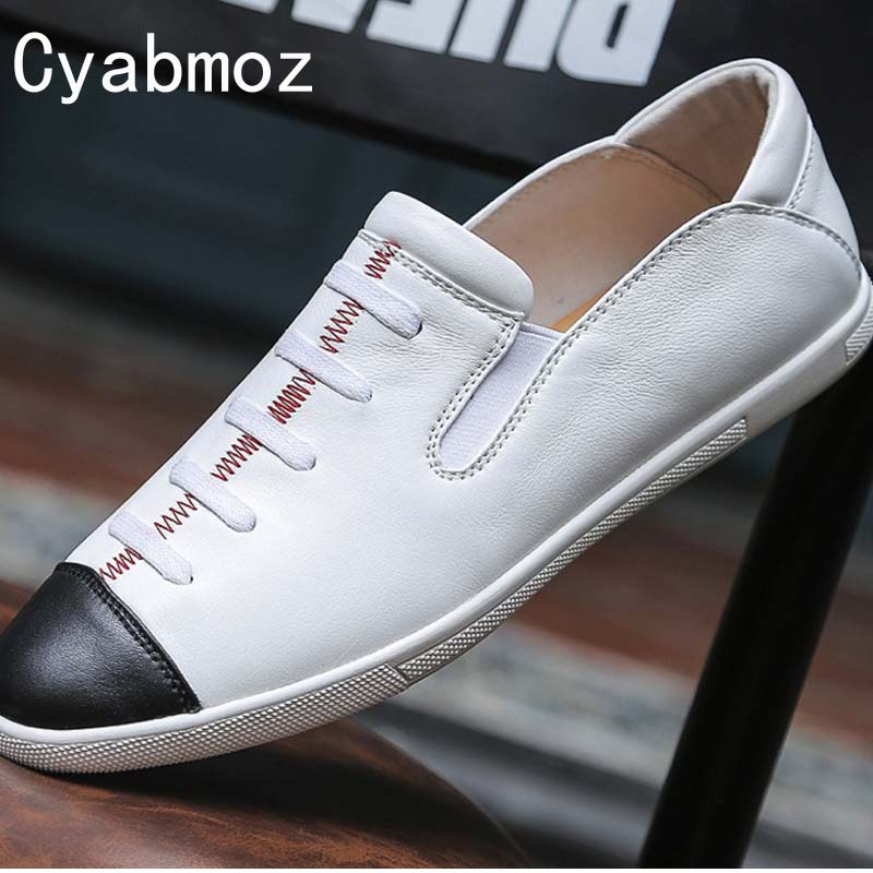 Cyabmoz Brand Hot Sale Spring Autumn Loafers Men Flats Shoes Luxury Fashion Moccasins Genuine Leather Male Driving Casual Shoes mens casual leather shoes hot sale spring autumn men fashion slip on genuine leather shoes man low top light flats sapatos hot