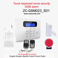 English Russian Spanish Czech French Polish Free Shipping Touch Keyboard LCD Display Home Security Gsm Alarm