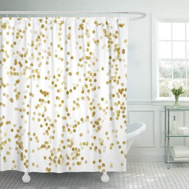Shower Curtain With Hooks Confetti Gold And White Dots Faux Pattern Shiny Bathroom