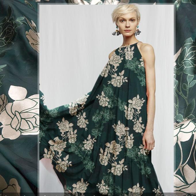 Tissu Jacquard en soie Rose doré 140 cm tissu en soie burbout Perspective tissu robe châle en gros tissu de soie